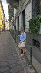 What we did in Milan - Me in a beautiful street in Milan