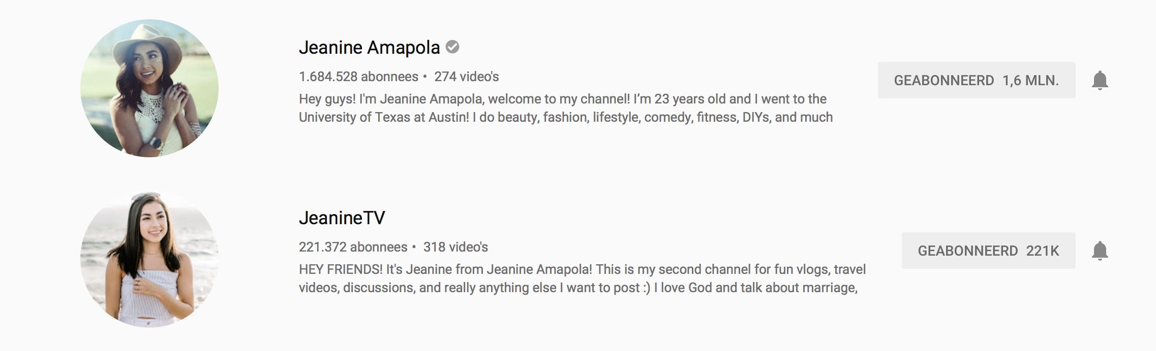 YouTubers I recently followed: JeanineTV