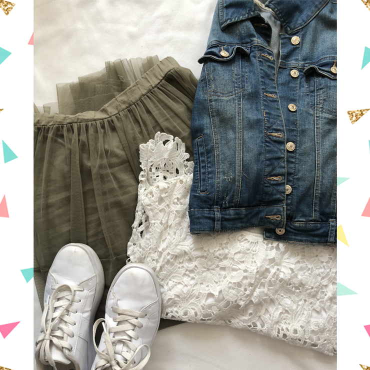 Girly Cute with a Khaki green skirt from noisy may